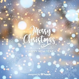 Merry Christmas & New Year Bokeh Background