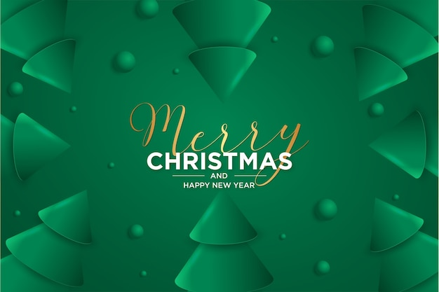 Merry christmas and new year card 3d card with christmas tree