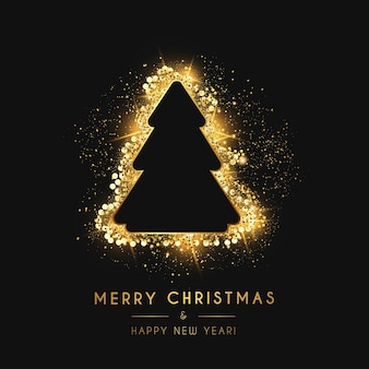 Merry christmas and new year card with gold christmas tree