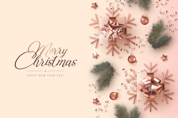 Merry christmas and new year card with realistic decoration