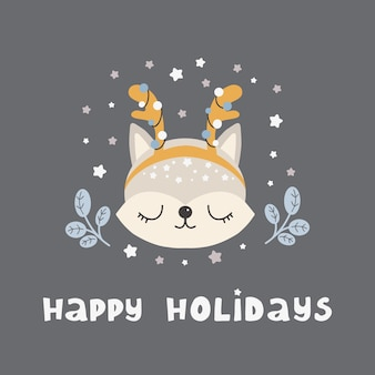 Merry christmas and new year cute animal fox in scandinavian style with lettering  happy holidays