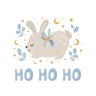 Merry christmas and new year cute animal rabbit in scandinavian style with lettering  ho ho ho