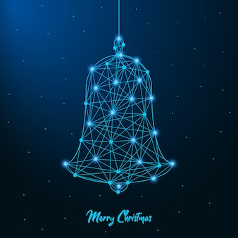 Merry christmas and new year design with low poly christmas bell made by points and lines