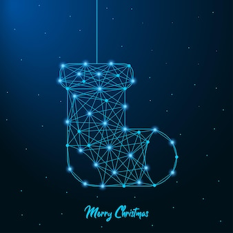 Merry christmas and new year design with low poly christmas sock made by points and lines