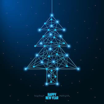 Merry christmas and new year design with low poly christmas tree made by points and lines
