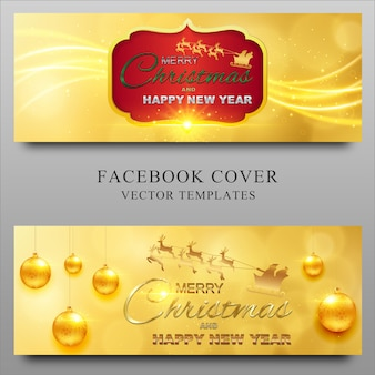 Merry christmas and new year facebook timeline cover design template