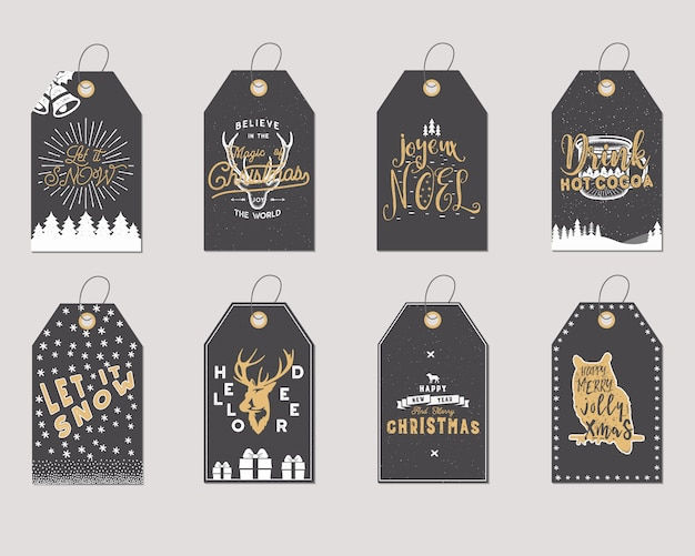 Merry christmas and new year gift tags collection.