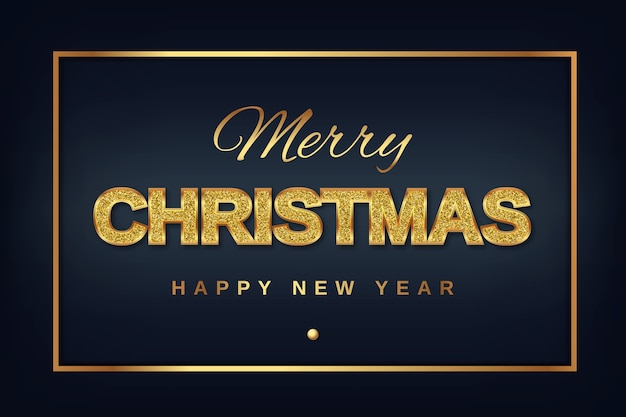 Merry christmas and new year golden text with shining glitter on a dark background in a gold frame.