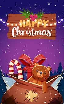 Merry christmas and new year greeting card retro design. vector illustration
