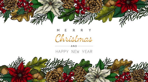 Merry christmas and new year greeting card with flower and leaf