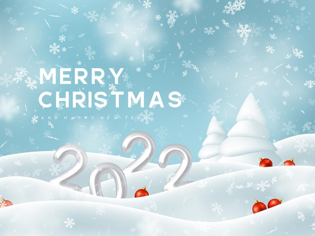 Merry christmas and new year greeting card with snow landscape and red balls
