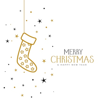 Merry christmas and new year greeting card with socks and stars