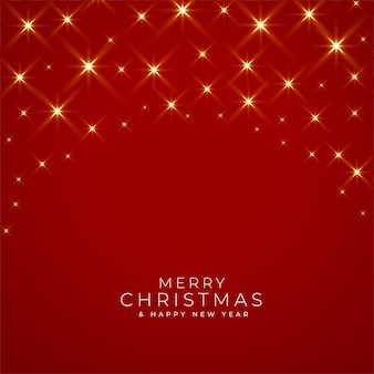 Buon natale e anno nuovo biglietto di auguri con luci scintillanti su rosso rosso
