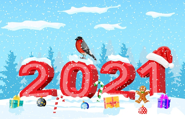 Merry christmas and new year holiday greeting xmas card with 2021 bold letters
