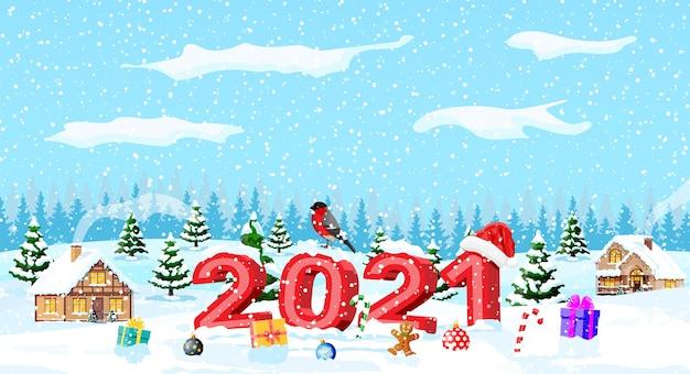 Merry christmas and new year holiday greeting xmas card