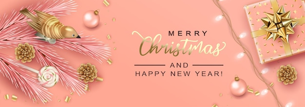 Merry christmas and new year holiday realistic banner
