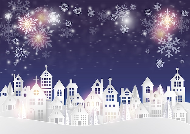 Merry christmas and new year holidays city