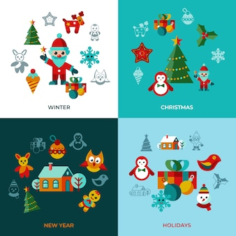 Merry christmas and new year icons collection