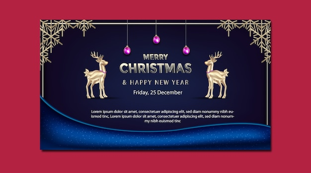 Merry christmas and new year promotion banner