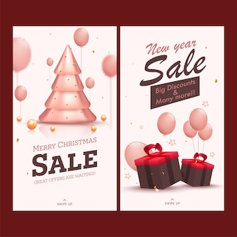 Merry christmas new year sale template or flyer design in two options