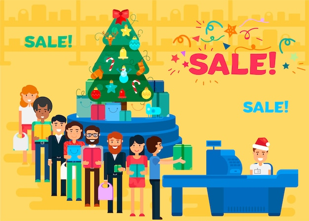 Merry christmas and new year in shop