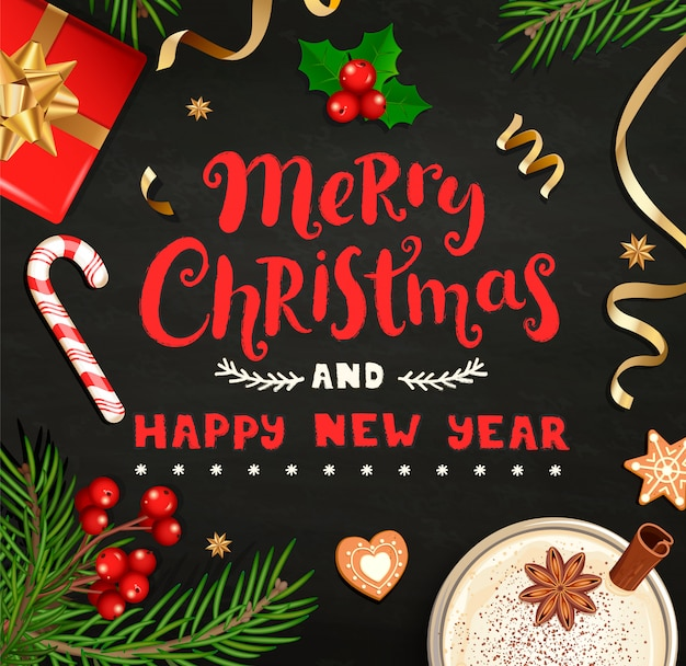 Merry christmas and new year wishing card.