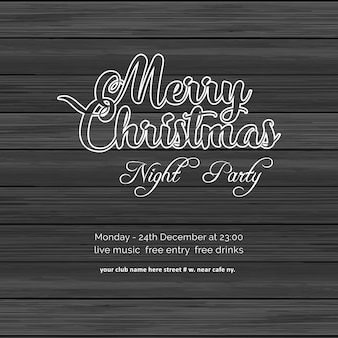 Merry christmas night party wood background
