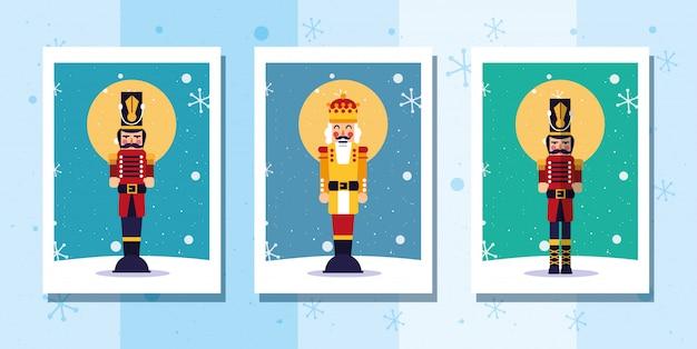 メリークリスマスくるみ割り人形と雪