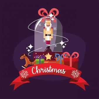 Merry christmas nutcracker inside sphere