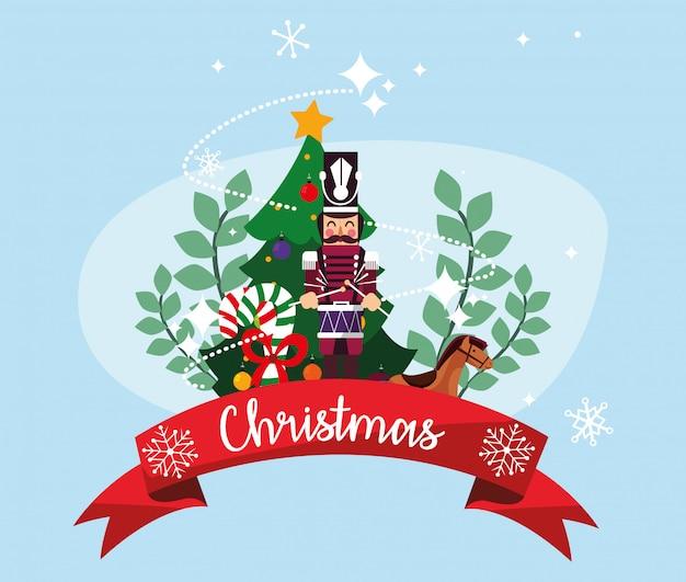 Merry christmas nutcracker and pine tree