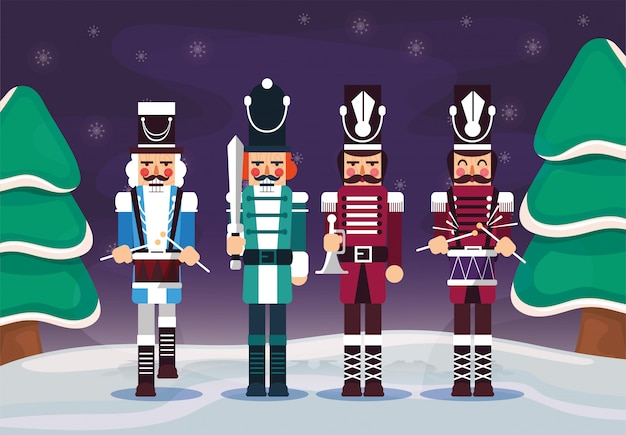 Merry christmas nutcrackers and pine trees