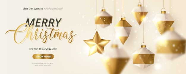 Merry christmas offer banner with realistic 3d christmas balls composition