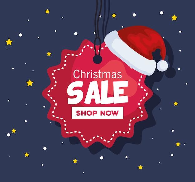 С рождеством христовым предложение распродажа этикетка с дизайном шляпы, зимним сезоном и темой украшения