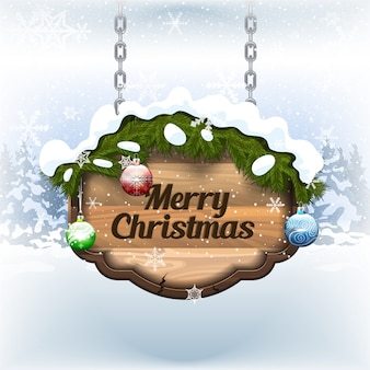 Merry christmas on old signboard