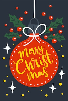 С рождеством христовым на красном рождественском балу. праздничное приветствие иллюстрации.