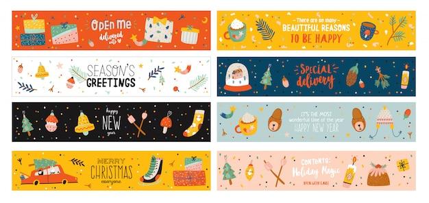 メリークリスマスまたは新年あけましておめでとうございますイラスト休日のレタリングと伝統的な冬の要素。北欧スタイルのかわいいバナーテンプレート。 web、ポスター、カードに適しています。バックグラウンド