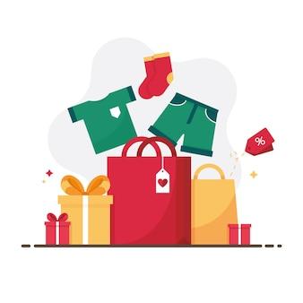 メリークリスマスやお正月のカラフルなギフトボックスに冬のセール用の服がプレゼント