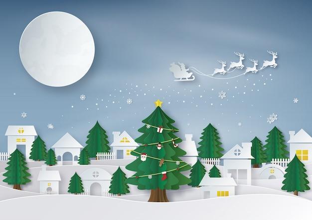 С рождеством. оригами и бумага, сделанные из санта-клауса, едущего на оленьих упряжках на фоне полной луны. городское пространство и городской пейзаж в зимний сезон. векторная иллюстрация.