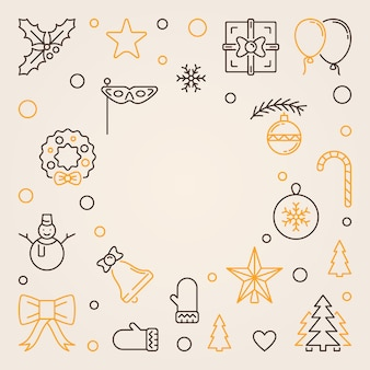 Merry christmas outline background