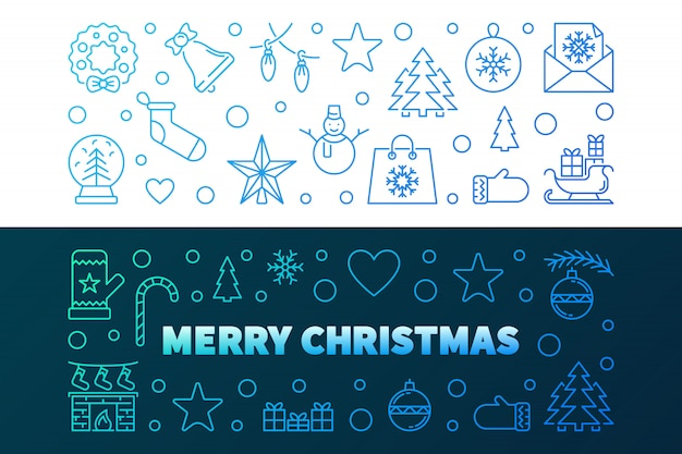 Merry christmas outline colorful banners