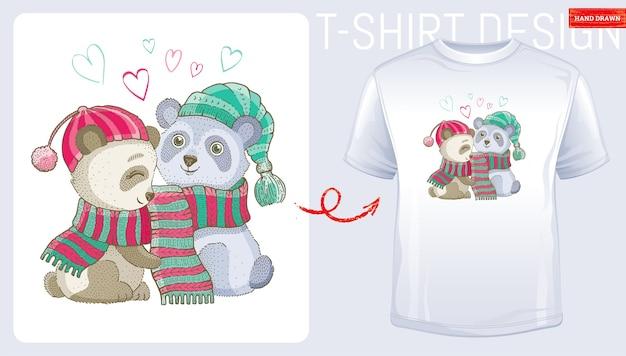 メリークリスマスパンダのクマのカップル。冬のtシャツのプリントデザイン。かわいい漫画のファッション。