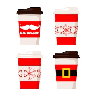 Merry christmas paper coffee or tea cups decorated santa claus belt, ho-ho-ho and snowflakes illustration isolated on white background. vector flat style set winter x-mas drink to go design elements.
