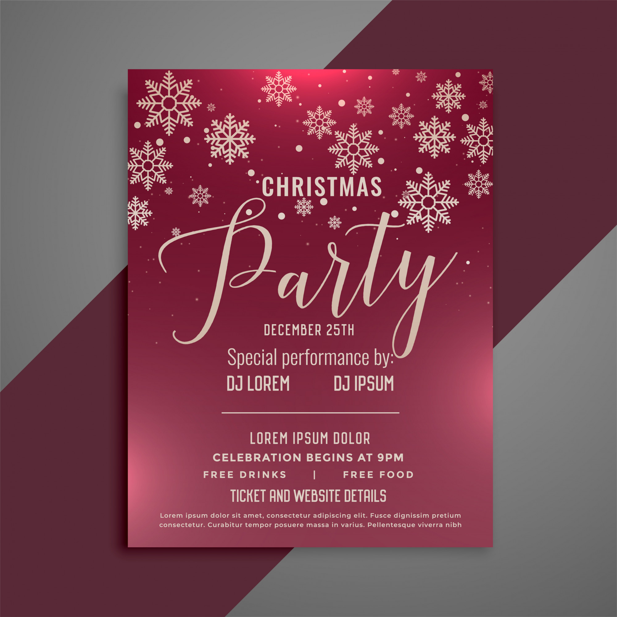 Merry christmas party celebration flyer design