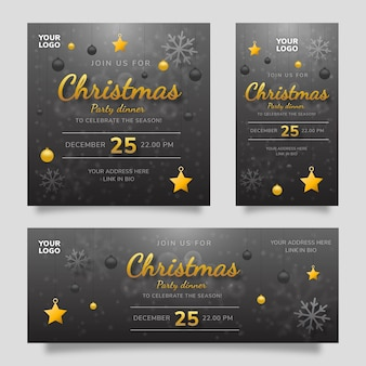 Merry christmas party dinner social media template flyer with black yellow gradient background