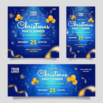 青い背景とメリークリスマスパーティーディナーソーシャルメディアテンプレート