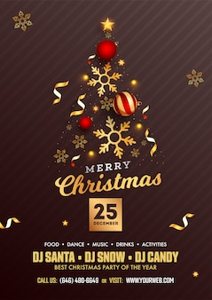 Merry christmas party flyer design with creative xmas tree made by realistic baubles, golden stars