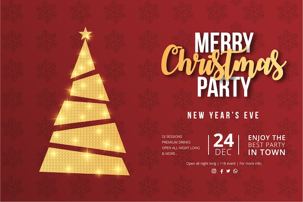 Merry christmas party flyer design con albero di natale dorato