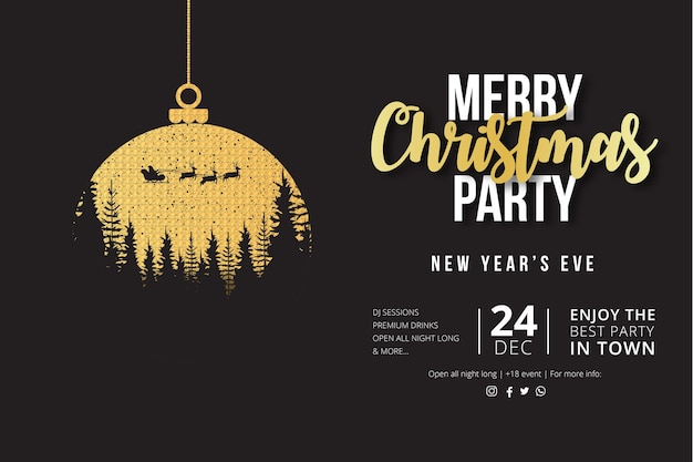 Merry christmas party flyer with golden christmas ball