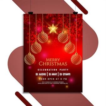 Merry christmas party invitation brochure design