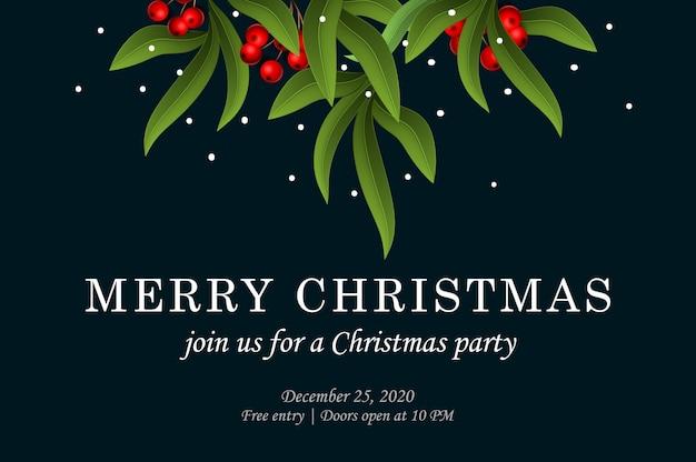 メリークリスマス。ユーカリの葉と赤い果実のパーティの招待状のテンプレート